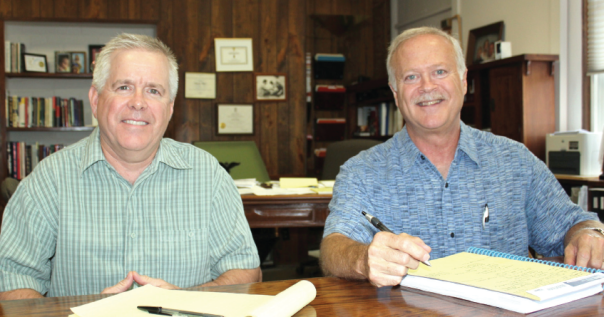 John O'Toole, K-12 science/math & assessment coordinator and Charlie Glaes, superintendent of Vicksburg Schools.