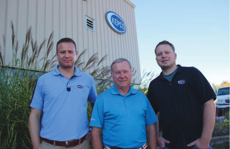 From left to right, Nick Sertic, Bill Hochstetler and Tim Palomaki in front of their building on Leja Dr., in the Vicksburg Industrial Park.  They form the core of the operations at KEPCO with all of them wearing many hats.