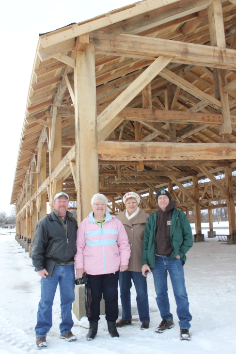 Representatives from Portland, MI visit the Vicksburg pavilion construction site in January to learn all about building a similar structure in their community from Kristina Powers Aubry.