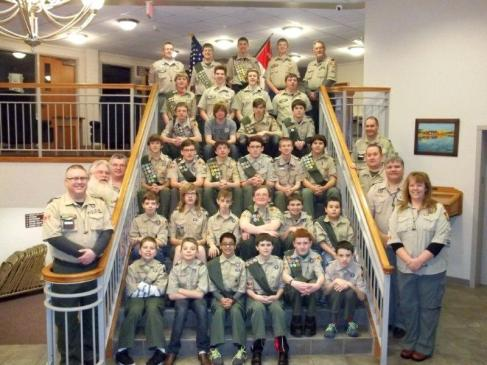 Vicksburg Boy Scout Troop 251 posing on the steps of their sponsor, the Vicksburg United Methodist Church.