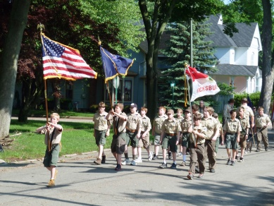 Boys Scouts march in Memorial Day parade.