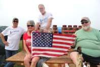 Members of the fireworks brigade from left to right: Randy Palmer, Virginia Mongrieg, Chip Mongrieg, and Fred Western.