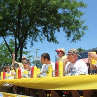 The Nathan's Hot Dog Eating Contest, sponsored by Apple Knockers Ice Cream Parlor, in its third year at the Old Car Festival.