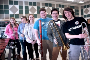 Six students from the Vicksburg High School band program have advanced to the state solo and ensemble contests in March. They are from front to back: Nathaniel Chiu, trombone; Sean Garrett, trombone; Jacob Miller, bassoon; Ariel Stanley, flute; Summer Painter, flute; Amelia Knedgen, clarinet. Ben Rosier, band director, said a few more qualified but were unable to go.
