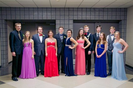 The monarchy for basketball homecoming in Schoolcraft are chosen by the students. They are from left to right: Cody Tone, Jessica West, Chadd Marks, Colleen Flynn, Tyler Faulk (king), Riley Devenney, Abby Chapin (queen), Nathan Politowicz, Kyle Ladd, Sarah Harmelink, Rielly Troyer (prince), Paxton Green (princess). Photo by Stepanie Blentlinger, Lingering Memories Photography.