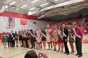 Being chosen to the basketball homecoming court is a singular honor for high school students in Vicksburg. Shown in the photo, from left, are freshmen Avery Slancik and Adam Henderson; juniors Trace Slancik, Mikayla Shaw, Madison Prebenda (princess), Keegan Frisbie (prince), Makenzie Olson, Bailey Slater, Desiree Gonzalez and Miguel Garrido; seniors Megan Aldworth, Dalton Ketelaar, Amber Beal, Jarrad Whited (king), Kaycee VanDerboss (queen), Matchell VanSchoick, Kaylee Pryson and Chad Bowersox; sophomores Amanda Walther and Caleb Fort.