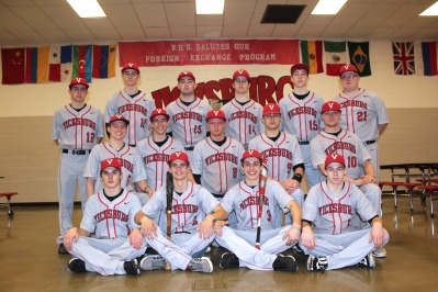 Varsity Baseball Front row left to right: Austin Gohl, Mitchell VanSchoick, Conner Henderson, and Michael Scoffin. Middle row left to right: Keenan Erb, Lucas Perry, Hunter Van, P.J. Callahan, and Dalton Ketelaar. Back row left to right: Colin Morgan, Brenden Lovell, Trace Slancik, Jacob Dilly, Matt Homan, and Bailey Kloosterman.