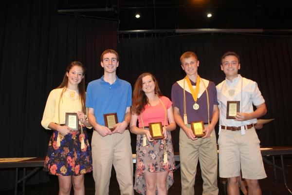 Schoolcraft seniors receiving academic awards include from left to right: Abby Chapin, Ben Lenning, Jenna Otten, Matt Peter, Pete Schultz.