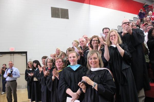 VHS faculty applaud the graduating seniors.
