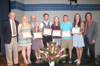 These seniors received scholarships from the Vicksburg Foundation. Left to right: Bill Oswalt of the Foundation, Cayleigh Twohig, Jim Shaw of the Foundation, Sarah Stasik, Richard Livingston, Dawn Richards, Keenan Erb, Olivia Welch, and Rudy Callen of the Foundation.