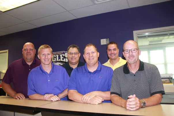 Administrators gather before school in Schoolcraft. From left: Rusty Stitt, superintendent; Matt Webster, elementary principal; Ric Seager, high school principal; Jeff Clark, athletic director; Chris Ebsch, early elementary principal/technology support; Dave Powers, middle school principal.
