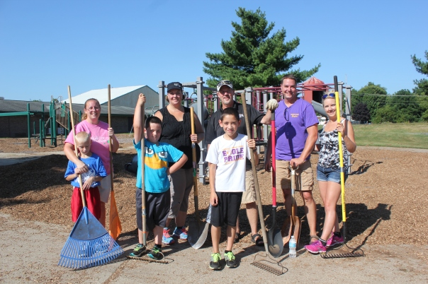 Getting ready for the back-to-school crowd, the Schoolcraft PTO parents and kids did some weeding, cleaning up, spreading mulch and raking the grounds. It was their annual Beautification Day with volunteers laying tons of mulch at the two elementary school playgrounds.