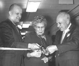 Sheldon Durham, Grace Noble and Deyo Beall cut the ribbon to open the new hospital in December 1969.