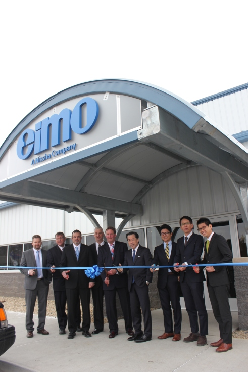 The official ribbon cutting for the new Eimo plant in Leja Park featured, from left to right, Mark Key, Mike Keith, Gary Hallam, Junya Suzuki, Wataru Watanabe, and Terry Tershita.