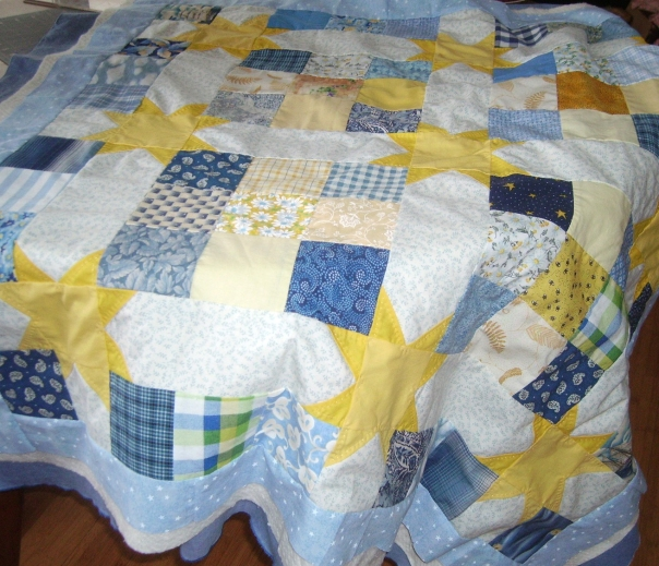 Gold Star baby quilt in progress, not pinned