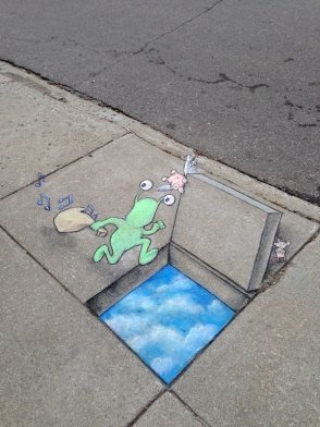 Chalk art by artist David Zinn will be a feature of the scavenger hunt, sponsored by the Vision Campaign. As for permanence, these drawings will not be Zinn's usual chalk art, but rather small-scale painted images that will resist rain and be only gradually affected by sunshine and foot traffic.