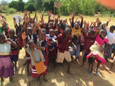 Some of the students in the Phalombe boarding school greet the teachers that came all the way from the United States.