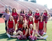 JV Cheer Front row left to right: Kaylee Polley, Paige Daniels. Second row left to right: Jaden Lemacks, McKensi Nehls, Rileigh Klutts, Madison Bullis. Back row left to right: Coach Kasey Tassell, Meaghan Miller, Eden Lavers, Paris Price, Savannah Harring, Courtney Zinsmaster.