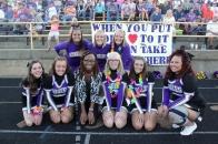 Cheer Front row left to right: Grey Buchheit, Taylor Bell, Coach Tirrea Billings, Kaitlyn Simpson, Sierra Rygwelski, Ashley Crosby. Back row left to right: Abby Carlisle, Summer Carls, Emily Williams.