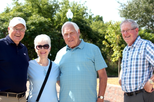 Donors to the Vision campaign attended the Trailhead dedication. From left to right: Bill Adams, village president; Gail Reisterer, village council trustee; Ted Vliek, Vision campaign chairman; Bill Oswalt, Vicksburg Foundation president.