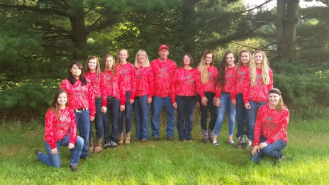 Equestrian From left to right: Paige Truckey, NaMe Greymountain, Bailey Miracle, Ally Barga, Hannah Flickinger, Asst. Coach Karin Fleetwood, Mike Fleetwood, Coach Dawne Steele, Anna Freund, Madi Lowes, Calli Kirkendall, Keagan Kelley, Taylor Dent.