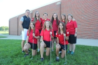 Girls Golf Front row left to right: Maia Fleck, Sierra Stevens, Natalie Arndt. Back row left to right: Coach Brodie Hock, Erin Perkins, Emma Piper, Joanna Bell, Adeline Reno, Manager Kendallyn Freeland.
