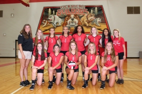 JV Volleyball Front row left to right: Madeleine Geiger, Rylie Richter, Bayli Brown, Camille Wadley, Remi O'Neill. Back row left to right: Coach Riley Kitzmiller, Ashlyn Girolami, Abby Wurfel, Micayla Bozeman, Marley Ferguson, Lindsey Miller, Alyssa Thompson, Manager Kennedy Francisco.