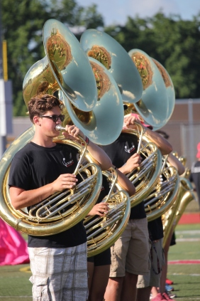 The tuba section in the Vicksburg Big Red Machine.
