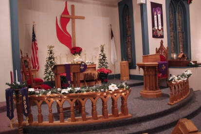 The Schoolcraft United Methodist Church are decorated for the Christmas Antiques Walk on December 3 and 4.