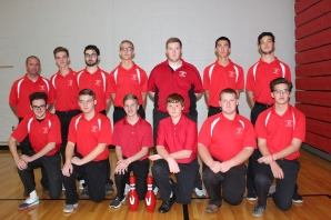 Boys Bowling Kneeling, left to right: Aden Lehmkuhl (no longer on the team), Connor Polsinelli, Seth Blodgett, Landon Geark, Zachary Sackrider, John Vreeman. Standing, left to right: Coach James Myers, Hunter Grinnell, Nicholas Richards, Cameron Haase, Bryce Reenders, Hunter Myers, Lucas Hetrick.