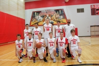 Boys Freshman Basketball Kneeling, left to right: Drew Fitzsimmons, Ben Welch, Jacob Baird, Dillon Shook, Carter Coffinger, Lucas Hatridge. Standing, left to right: Chase Myers, Will Thomas, Tyler Kienbaum, Jared Gorsline, Coach Canaan Groff. Missing from the photo: Corbin Weed.