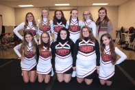 JV Competitive Cheer Front row, left to right: Claudia Esclasans Ruiz (no longer on team), Nalani Rawson, Hailey Sturdavant, Mika Rolfe, Taigan Copeland. Back row, left to right: Mckensi Nehls, Courtney Zinsmaster, Eden Lavers, Aislyn Brown, Rileigh Klutts, Coach Kasey Tassell. Missing when the photo was taken: Trinity Purdiman.