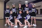 Cheer Front row left to right: Jenna Pickern, Ashley Crosby, Autumn Fitzsimmons. Standing, left to right:Aly Earl, Grey Buchheit, Coach Ali Hufford, Maeve Macfarlane, Hunter Schidecker.