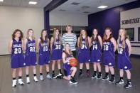 Girls Freshman Basketball Kneeling: Libby Olsen. Standing, left to right: Paige Copeland, Audrey Balcom, Paige Reid, Jaice Parker, Coach Shelly Cochran, Morgan Hamelink, Mikaylen Svoboda, Lindsey Polum, Erin Lockwood.
