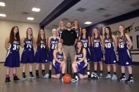 Girls JV Basketball Kneeling: Brenna Walther, Abby Blodgett. Standing, middle row left to right: Aly Earl, Kylie Martin, Morgan Hamelink (44), Payton Campbell, Coach Brian DeVries, Chloe Outman, Kylie Nantz, Paige Reid (40), Erin Lockwood (42). Back Row: Olivia Ingle, Adrienne Rosey. Three players swing between the freshman and the JV teams. Their JV numbers are noted next to their names.
