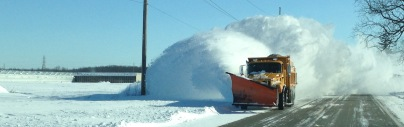 A snow plow keeps the streets clear. Photo courtesy of the county road commission.