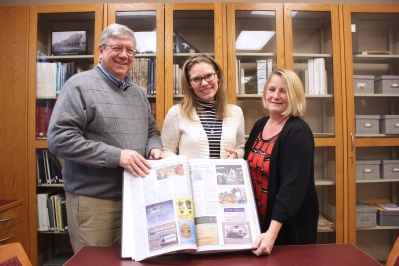 Wes Schmitt and Linda Lane, members of the South County News board of directors and Schoolcraft residents, presented Faye VanRavenswaay, Schoolcraft Library director with a bound volume of the South County News editions dating from June 2013 to December 2016. Schmitt, a Western Michigan University graduate and Pfizer retiree, is the treasurer of the nonprofit organization that governs the newspaper. He was one of the founding members in 2012 and has been in firm control of the purse strings ever since. Lane is a relatively new member of the board having graduated from the University of Michigan with a degree in communications, then worked for the Grand Rapids Chamber of Commerce. She has been writing a number of news stories each month since joining the board in 2016. The 42 issues of this monthly newspaper can be accessed for research by area residents whenever the library is open. It can also be accessed online at www.southcountynews.org, however there are no ads or obituaries in the online version.