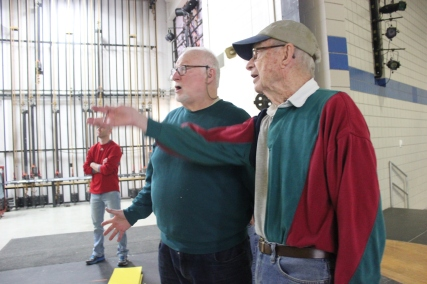 Andrew Horne, Jim Bird, and Lloyd Appell are working back stage to get the bus rolling for the Showboat trip, taking the chorus far and wide in the United States.