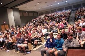 All the high school students met in the Performing Arts Center during the last hour of the day to watch a presentation on texting while driving.
