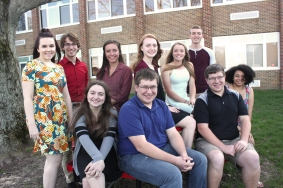VHS' top ten. Back row, left to right: Kristin Gustavson, Andrew Phelps, Raquel Rice, Savannah McDowell, Carlie Kudary, Jonathan Eager. Front row, left to right: Kyla Kane-Maystead, Jack Gangloff, Ben Gangloff, Madison Petersen. Not Pictured: Josephine Hosner, Adam Grabowski.