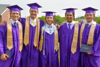 Proud graduates from left to right: Justin VanDyken, Nolan Anspaugh, Max Kulczyk, Ricky Clark, and Caleb Anspaugh after the ceremonies.