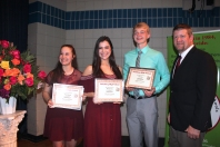The Vicksburg Lions Club awards three $1,500 scholarships each year. The recipients pictured here are from left: Abbey Oswalt, Marissa Ervin, Caleb Fort with Dave Reno, the club president seen on the right.
