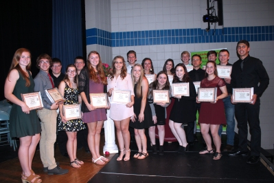 Vicksburg students received over $65,000 in scholarships given by the greater Vicksburg community. Pictured here from left to right with their plaques are: Grace Welch, Andrew Phelps, Ben Gandloff, Madison Bell, Jack Gangloff, Taylor Dent, Raven Losee, Nik Zazula, Carlie Kudary, Raquel Rice, Kyla Kane-Maystead, Marissa Ervin, Kristin Gustavson, Caleb Fort, Bryce O'Neill, Abbey Oswalt, Darren Hiemstra, Shane Cousins, Adam Grabowski.