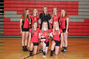 Freshman Volleyball Kneeling left to right: Belle Kokales, Alize Fellows, Brianna Hamilton. Back row left to right: Claire Martin, Paige Abnet, Coach Becky Van Laan, Jaidyn Manier, Carlie Moyer. Not pictured: Mykah Zehner, Olivia Grinnell, Grace Johnson.
