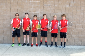 JV Tennis Left to right: Coach Eric Flickenger, Ricky Laham, Seth Crabtree, Garrett Cleaver, Zach Myers, Drake Steele. Missing from the photo: Jed Tolentino. Photo by Lisa Harbour.