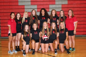 Varsity Volleyball Kneeling left to right: Tailynn Knapp, Rylie Richter, Caitlin Burr, Grace Wile, Camille Wadley. Back row left to right: Coach Mikela Caseria, Morgan Preston, Hannah Vallier, Kaytee Harvey, Marley Ferguson, Anna Schriemer, Chloe Hatridge, Head Coach Katrina Miller.