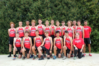 Boys Cross Country Kneeling left to right: Keagan Ellsworth, Cole Romig, Jackson Hambright, Evan Frank, Joey Loriso, Kyle Campbell, Coach Anne Jasiak. Back row left to right: Ben Welch, Jacob Malocha, Elijah Lockett, Kyle Kelly, Jacob Wisser, Kyle Strong, Aiden Ward, Collin Eager, Hunter Bierema, Levi Thomas, Jacob Klimb, Connor Richardson, Head Coach Lucas Wolthuis.