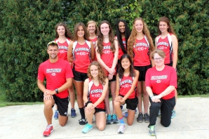 Girls Cross Country Kneeling left to right: Coach Lucas Wolthuis, Taylor Bays, Therese Thamann, Coach Anne Jasiak. Standing left to right: Kinsay Riddle, Avalee Goodman, Abbey Lafler, Sawyer Barton, Alyssa Thompson, Angel Currie, Angie Loriso.
