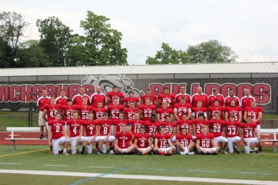 Varsity Football Front row left to right: Captains Garrett Ketelaar, Adam Henderson, Austin Bresnahan, Ryan Morgan, Austin Povlock. Second row left to right: Tim Gearig, Mason Glerum, Carter Ford, Joey McCowen, Logan Alleshouse, Jacob Yeck, DJ Bullock, Tucker Batdorff, Trevor Pryson, Caleb Welch, Joe Brady, Shane Earl, Ryan Salazar. Third row left to right: Austin Currie, Dylan Glenn, Nick Dilly, Cody Vanderhorst, Cody Leonard, Joshua Holmes, Cole Mallery, Nick Swope, Parker St. Clair, Russell Chaffee, Grant Deal, Trae Sehy. Back row left to right: Coaches Mark Blaesser, Dylan Noel, George Thompson, Brian Deal; players Kyle Rose, Tanner White, Garrett Bell, Evan Babcock; Head Coach Tom Marchese, Coaches Tim Kirby, Sean Mulhearn, Sawyer Duncan, Cody Caswell. Not pictured: Gavin Leach, Nick Peacock, Devon Batten-Coville, Coach Kyle Owen.