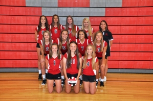 JV Volleyball Kneeling left to right: Megan Bresnahan, Allyson Hanna, Leah Johnson. Middle row left to right: Riley-Ann Bierema, Remi O'Neill, Sarah Sutter, Kelcey Cook. Back row left to right: Chloe Stevens, Allyson Naster, Anna Deal, Megan Holmes. Coach Amanda Croft.